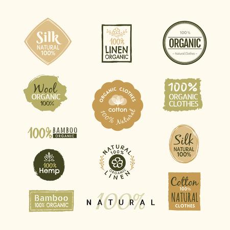 Conjunto de plantilla de vector de diseño de insignia de etiqueta de ropa orgánica dibujada a mano