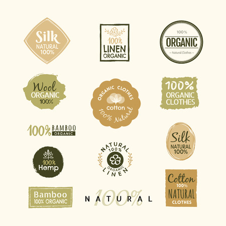 linen fabric: Set of hand drawn organic clothes label badge design vector template