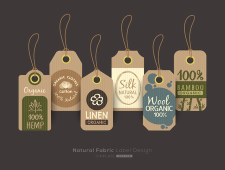 Set of eco friendly fabric cloth tag labels collection design elements
