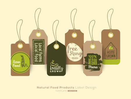 raw: Set of organic healthy food product tag and label sticker design elements