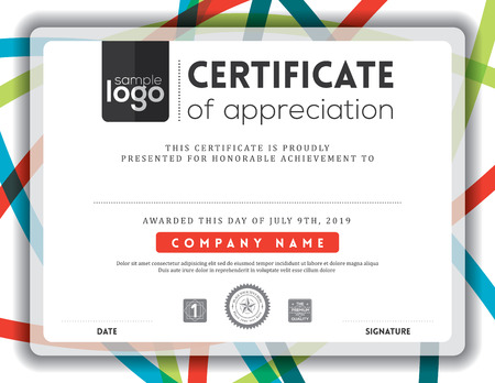 diploma certificate: Modern certificate background frame design template