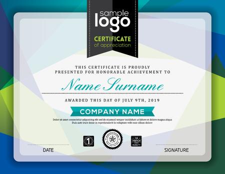 Modern certificaat blauwe en groene driehoek vorm achtergrond frame ontwerp sjabloon