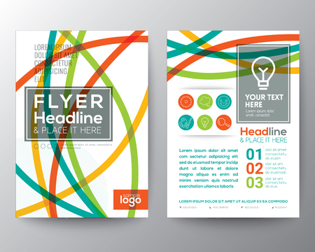 curved: Abstract Colorful Curved Line shape Poster Brochure design Layout vector template in A4 size Illustration