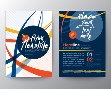 circles pattern: Abstract Colorful Curved Line shape Poster Brochure design Layout vector template in A4 size Illustration