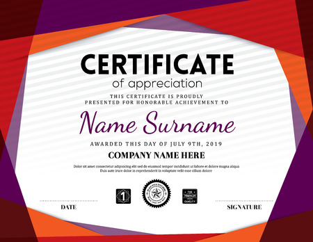 stock certificate: Modern certificate triangle background frame design template Illustration
