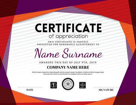 Modern certificate triangle background frame design template Illustration