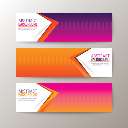 magenta: Set of modern design banners template with abstract triangle shape pattern background