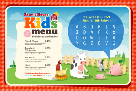 Cute colorful kids meal menu placemat vector template with animals cartoon and crossword puzzle