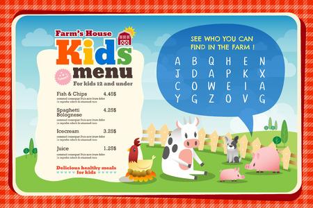 Leuke kleurrijke kindermaaltijd menu placemat vector sjabloon met dieren cartoon en kruiswoordpuzzel Stock Illustratie