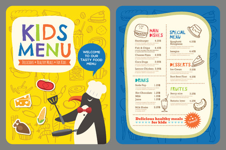 children eating: Cute colorful kids meal restaurant menu vector template with penguin cartoon