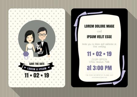 pareja de esposos: Plantilla de tarjeta de invitación de la boda con el novio y la novia de dibujos animados lindo