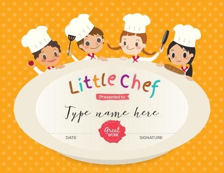 Niños, cocinar, plantilla de diseño certificado de clasificación con la ilustración de dibujos animados pequeño chef