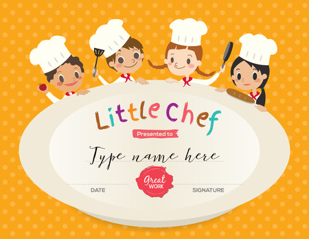 Kids Cooking class certificate design template with little chef cartoon illustration Vectores