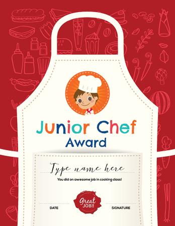 Niños, cocinar, plantilla de diseño certificado de clasificación con la ilustración de dibujos animados cocinero junior, en la cocina de fondo delantal