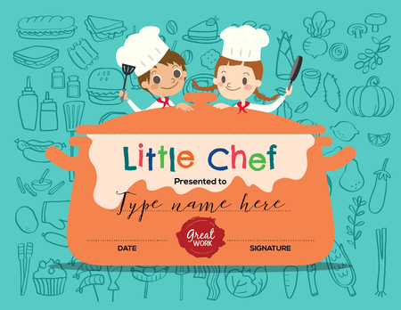 niños cocinando: Niños, cocinar, plantilla de diseño certificado de clasificación con la ilustración de dibujos animados pequeño chef Vectores