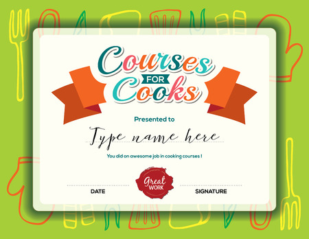 Kids Cooking courses certificate design template