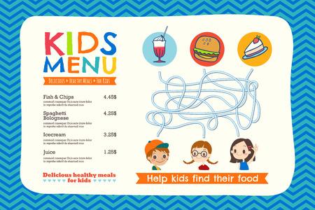Śliczne kolorowe dzieci posiłek menu podkładka szablonu Ilustracje wektorowe