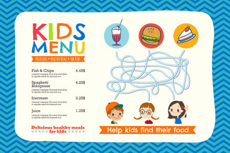 Cute colorful kids meal menu placemat template
