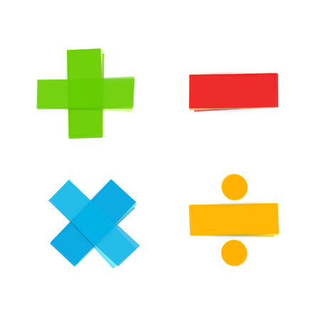 multiplicar: símbolos matemáticos de colores básicos; más, menos, multiplicar y dividir