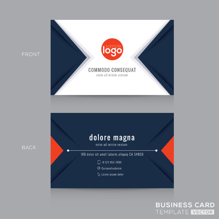 business card template: Abstract modern navy blue triangle Business card name card Design Template