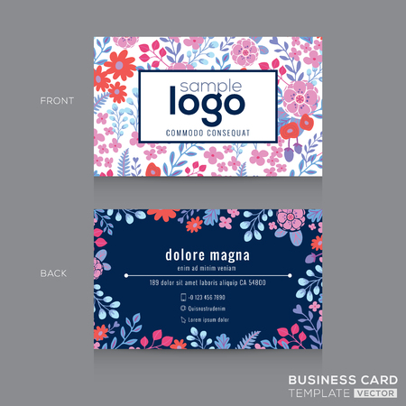 Cute Floral pattern Business card name card Design Template