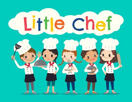 Grupa młodych Chef dzieci dzieci cartoon ilustracji