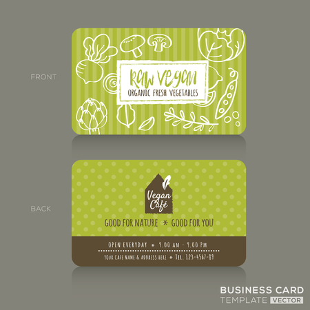 Organic foods shop or vegan cafe business card design template with vegetables and fruits doodle background