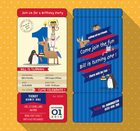 1st birthday: 1st Birthday party invitation card with Ticket Boarding pass style Template