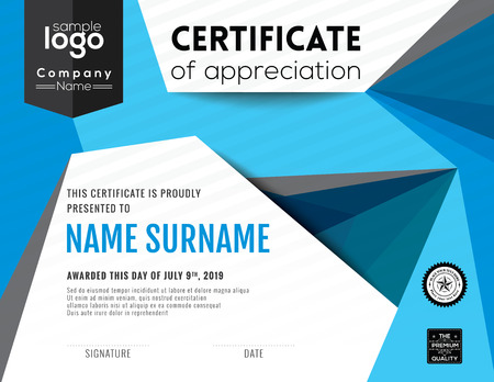 low prizes: Modern certificate with polygonal background design template