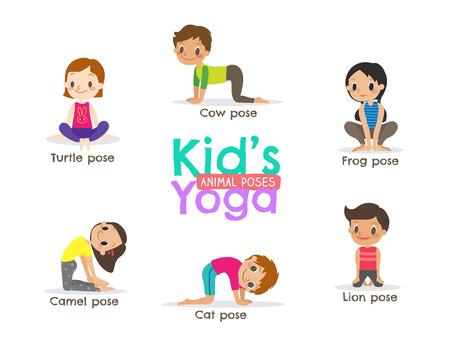 yoga kids poses cartoon illustration  イラスト・ベクター素材