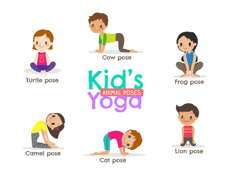 yoga kids poses cartoon illustration