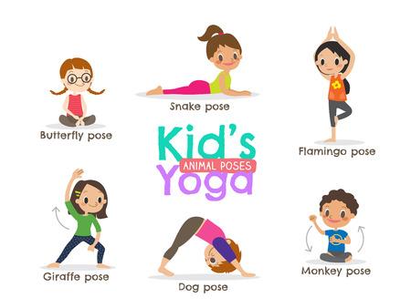 yoga kids poses cartoon illustration Vectores