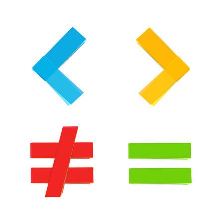 basic colorful mathematical symbols equal less greater
