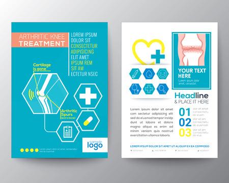 Rodilla artrítica Health Care Tratamiento y Disposición de diseño de plantilla Medical Poster Folleto de tamaño A4 Foto de archivo - 56408724