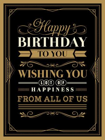 Vintage Gelukkige Verjaardag typografie grens en kadersjabloon Stock Illustratie