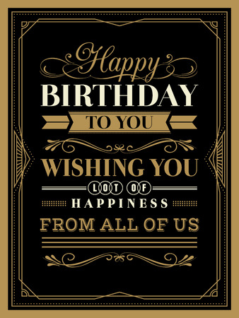 Vintage Happy Birthday card typography border and frame template