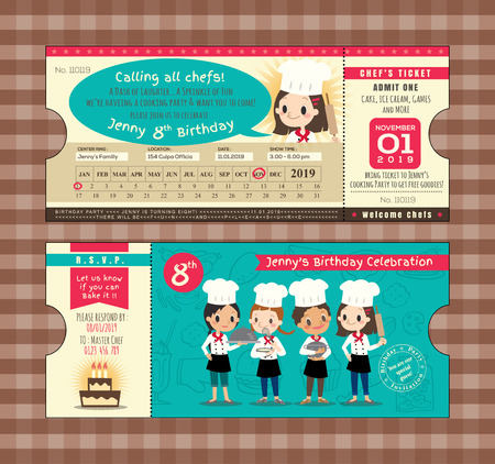 chefs cooking: Ticket Birthday card party Invitation Template with chefs cooking theme Illustration