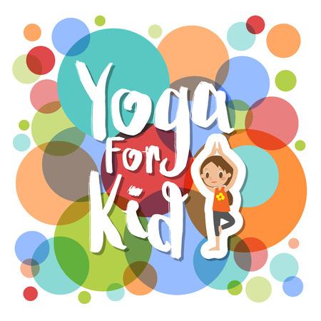 yoga for kids cartoon illustration on colorful circle background