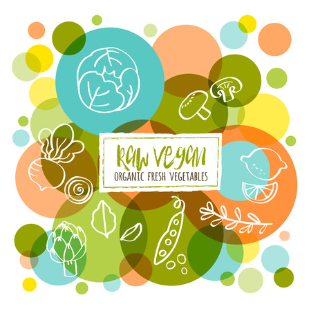 variety: Raw Vegan Organic fresh vegetables conceptual doodles illustration Illustration