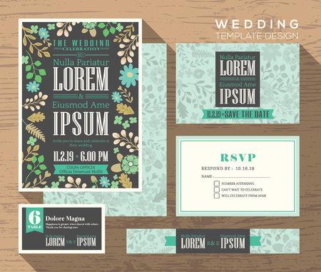 response: Cute pastel floral pattern theme design wedding invitation set Template place card response card save the date card