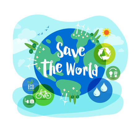 sustainable development: Save the World sustainable development ecology concept illustration