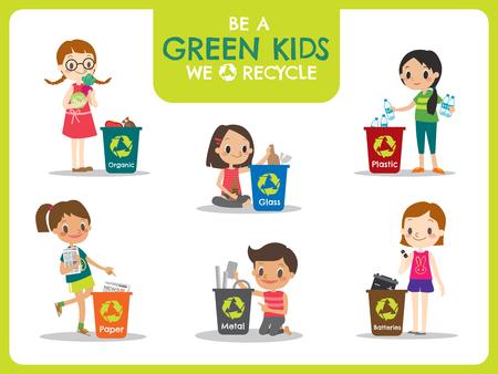 botar basura: niños verdes segregación de basura de reciclaje ilustración del concepto