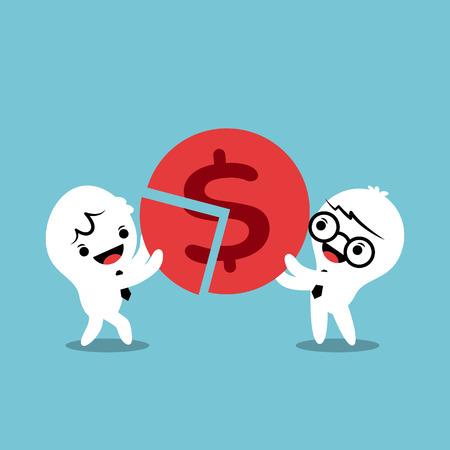 financing: business team businessman successful teamwork partnership concept cartoon illustration