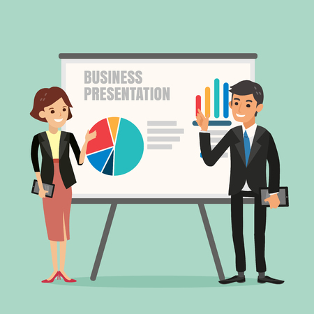 success business: illustration of businessman and woman making a presentation in front of a board