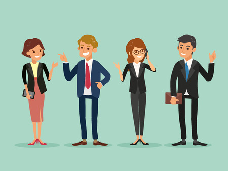 happy business people standing cartoon illustration