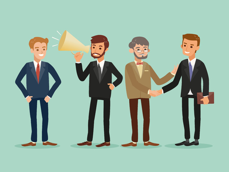 business people standing: happy hipster caucasian business people standing cartoon illustration