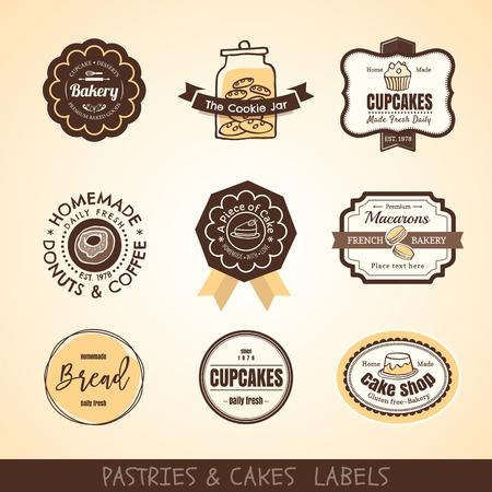 biscuit: set of Vintage bakery labels and frames design Illustration