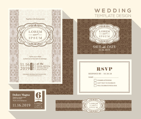 response: vintage design wedding invitation set Template place card response card save the date card