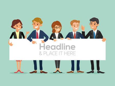 young business man: happy business team with a banner isolated vector cartoon illustration Illustration