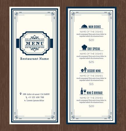Restaurant or cafe menu vector design template with vintage retro art deco frame style Vettoriali